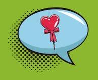 Lollipop in bubble pop art cartoon. Heart shaped lollipop in bubble pop art vector illustration graphic design Royalty Free Stock Photo