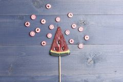 Lollipop and candies with valentine heart sign Stock Image