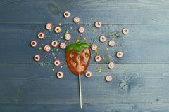 Lollipop and candies with valentine heart sign Royalty Free Stock Photo