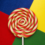 Lollipop candy. Beautiful lollipop candy on colorful background Stock Photo