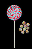 Lollipop candy. On the black background royalty free stock photo