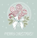 Lollipop candy bow christmas blue pink traditional vector card vector illustration