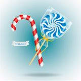 Lollipop and Candy Cane on blye background. Realistic vector illustration.  vector illustration