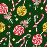 Lollipop candy cane seamless pattern Stock Photos