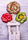 Lollipop candy flowers Stock Photography