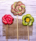 Lollipop candy flowers Stock Image