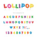 Lollipop candy glossy font design. Colorful ABC letters and numbers. Sweets for girls. Lollipop candy glossy font design. Colorful ABC letters and numbers vector illustration