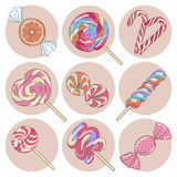 Lollipop candy isolated set Royalty Free Stock Photos
