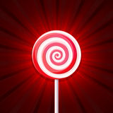 Lollipop Candy on Red Background. Vector Stock Image