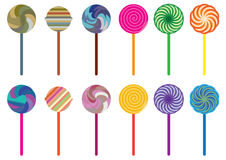 Lollipop Candy Set_eps. Illustration of lollipops on white background Stock Images