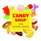 Lollipop candy shop concept background, cartoon style stock illustration