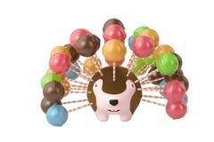 Lollipop with cartoon hedgehog. 3D illustration. Stock Images