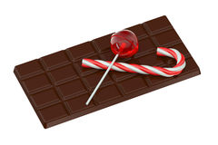 Lollipop, chocolate bar and candy cane Stock Photography