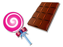 Lollipop and Chocolate Bar Vector Illustrations Stock Photography