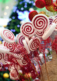 Lollipop Christmas decoration. With bokeh background royalty free stock images