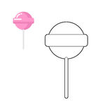 Lollipop coloring book. Pink round sweets for children. Sweet st Stock Image