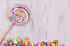 Lollipop and colourful candies Royalty Free Stock Images