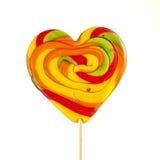 Lollipop con en forma de corazón Fotografía de archivo