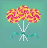 Lollipop con la cinta Imagen de archivo libre de regalías