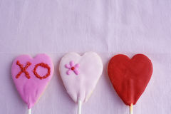 Lollipop cookie hearts Stock Image