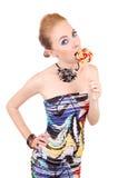 Lollipop cortante da mulher Imagens de Stock Royalty Free