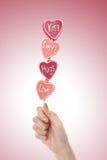 Lollipop do dia dos Valentim fotos de stock