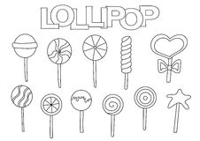 Lollipop elements hand drawn set. Coloring book template.  Outline doodle Stock Images