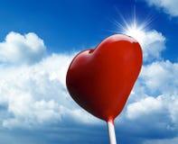 Lollipop en forma de corazón Imágenes de archivo libres de regalías