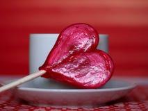Lollipop en forma de corazón Foto de archivo libre de regalías