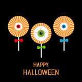 Lollipop with eyeball set. Red, green, blue bow. Happy Halloween card. Flat design Stock Photos