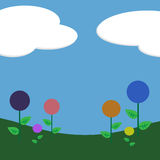 Lollipop Flowers Background. Graphic illustration of candy shaped flowers and grass against a blue sky and clouds background Stock Photos