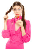 Lollipop girl sweet candy Royalty Free Stock Images
