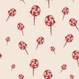 Lollipop Hand drawn sketch on pink background. seamless pattern  Stock Image