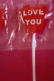 Lollipop heart with Love You Royalty Free Stock Images