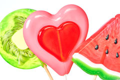 Lollipop heart, watermelon and kiwi Stock Photo