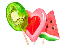Lollipop heart, watermelon and kiwi Royalty Free Stock Image