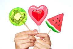 Lollipop heart, watermelon and kiwi Royalty Free Stock Photography