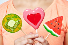 Lollipop heart, watermelon and kiwi Royalty Free Stock Photo