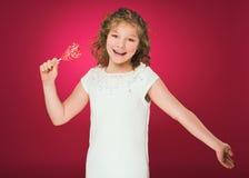 Lollipop La muchacha con un caramelo amor-formado Fotografía de archivo