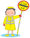 Lollipop Lady. Hand drawn picture of lollipop lady holding a stop sign. Illustrated in a loose style. Vector eps available stock illustration