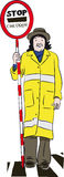 Lollipop lady. A lollipop lady on the road Stock Photos