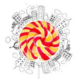 Lollipop. Bright colorful lollypop lolipop swirl stick stock illustration