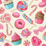 Lollipop pattern, yellow. Yummy colorful sweet lollipop candy macaroon cupcake donut seamless pattern, yellow Royalty Free Stock Images