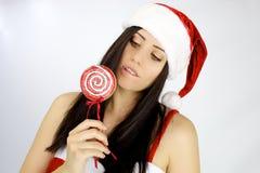 Lollipop preparado femenino de Papá Noel Fotografía de archivo libre de regalías