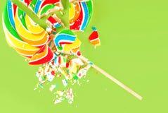 Lollipop quebrado Foto de archivo libre de regalías