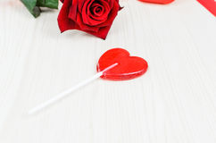 Lollipop red heart. Valentine's Day. Stock Images