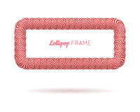 Lollipop red rectangle frame. Candy design for photo album and scrapbook to store favorite memories and pictures. Realistic vector illustration on white Stock Photography