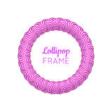 Lollipop round violet frame. Photo album page to preserve sweet memories. Realistic mockup vector illustration on white background Royalty Free Stock Photos