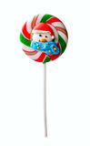 Lollipop with Santa head isolated Royalty Free Stock Photography
