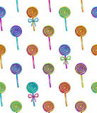 Lollipop seamless pattern. Candy on stick with bow for design. Animation illustrations. Handwork. Ornament for fabrics Royalty Free Stock Photo